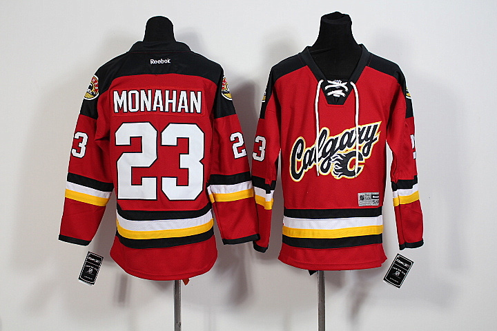 Youth NHL Calgary Flames 23 Sean Monahan Red 2015 Jerseys