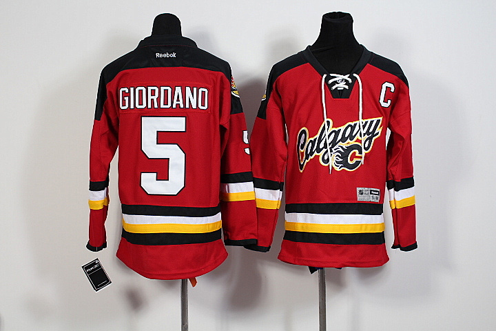 Youth NHL Calgary Flames 5 Mark Giordano Red 2015 Jerseys