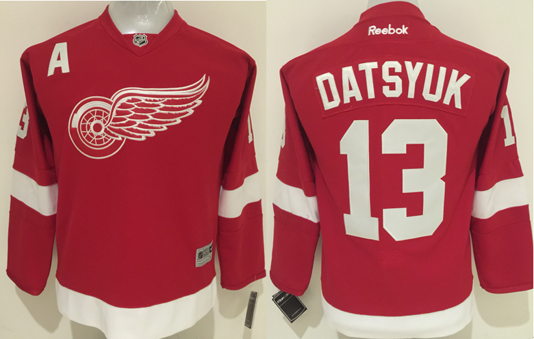 Youth NHL Detroit Red Wings 13 Pavel Datsyuk Red 2015 Jerseys