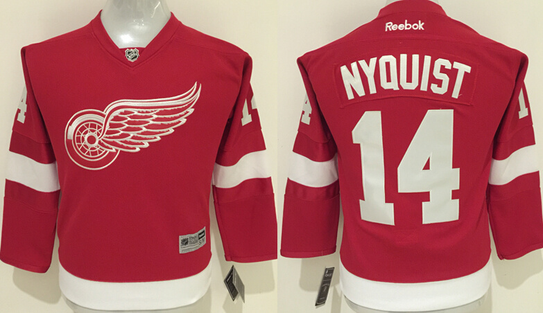 Youth NHL Detroit red wings 14 Gustav Nyquist Red 2015 Jerseys