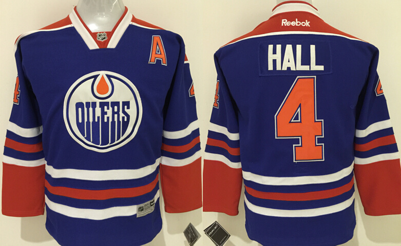 Youth NHL Edmonton Oilers 4 Taylor Hall Blue 2015 Jerseys