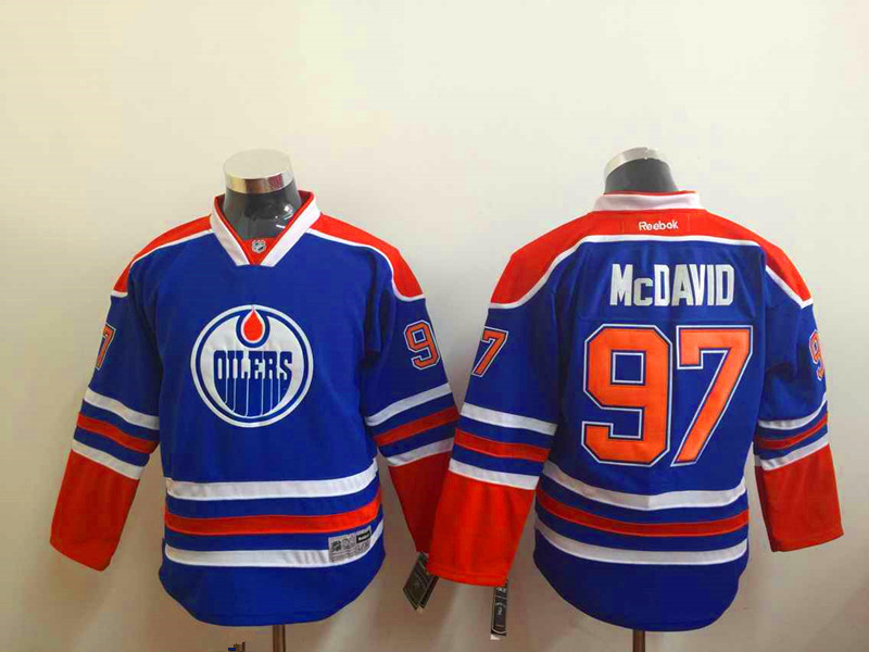 Youth NHL Edmonton Oilers 97 mcdavid blue 2015 Jerseys