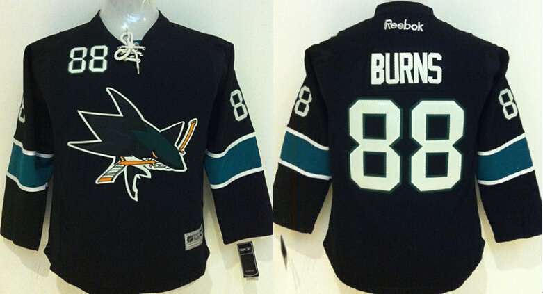 Youth NHL San Jose Sharks 88 Brent Burns Black 2015 Jerseys