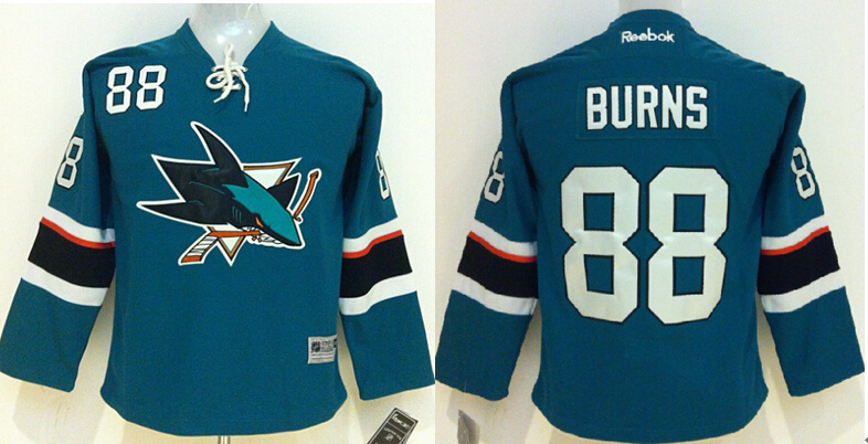 Youth NHL San Jose Sharks 88 Brent Burns Green 2015 Jerseys.