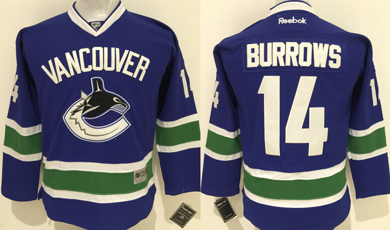 Youth NHL Vancouver Canucks 14 Alex Burrows 2015 Jerseys