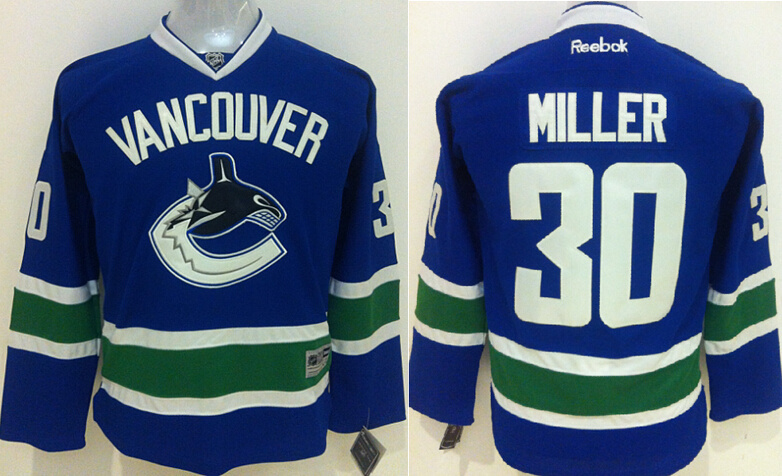 Youth NHL Vancouver Canucks 30 Miller Blue 2015 Jerseys.