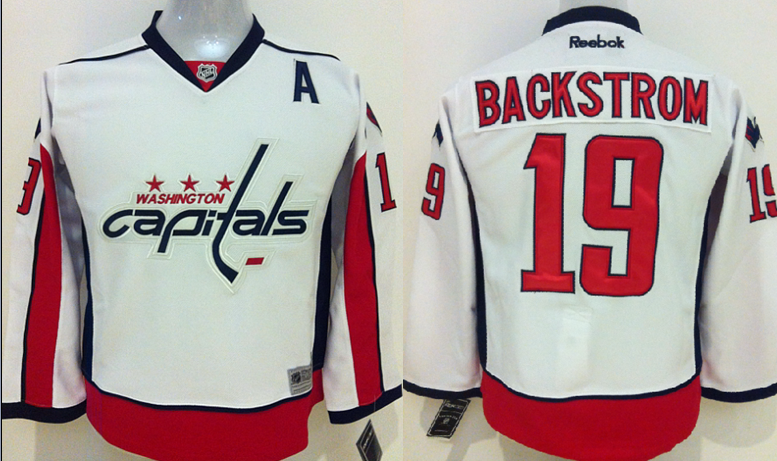 Youth NHL Washington Capitals 19 Backstrom White 2015 Jerseys