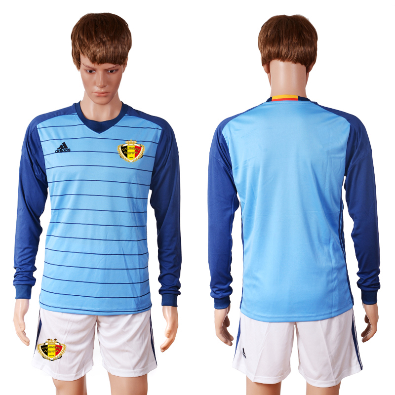 2016 Europe Belgium blue goalkeeper long sleeves soccer jerseys