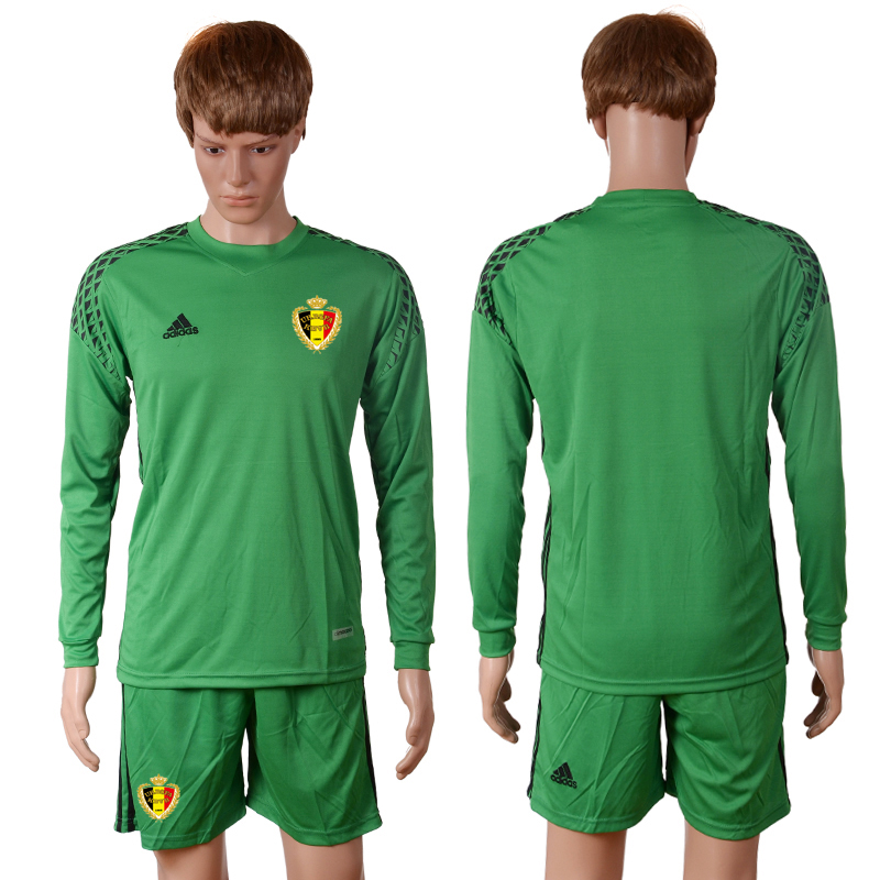 2016 Europe Belgium green goalkeeper long sleeves soccer jerseys