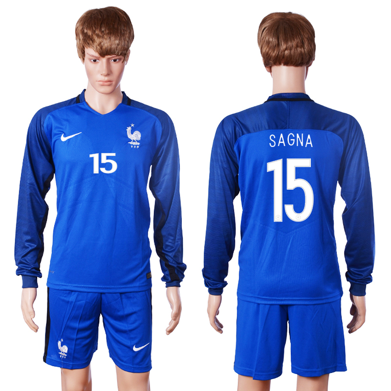 2016 European Cup France home long sleeve 15 Sagna Blue Soccer Jersey