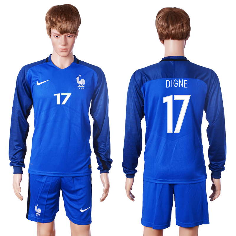2016 European Cup France home long sleeve 17 Digne Blue Soccer Jersey