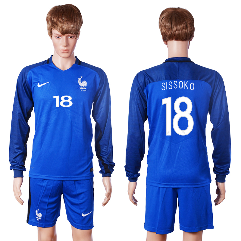 2016 European Cup France home long sleeve 18 Sissoko Blue Soccer Jersey