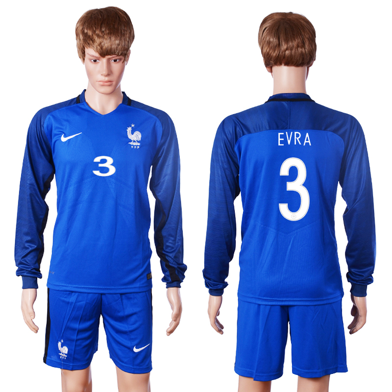 2016 European Cup France home long sleeve 3 Evra Blue Soccer Jersey