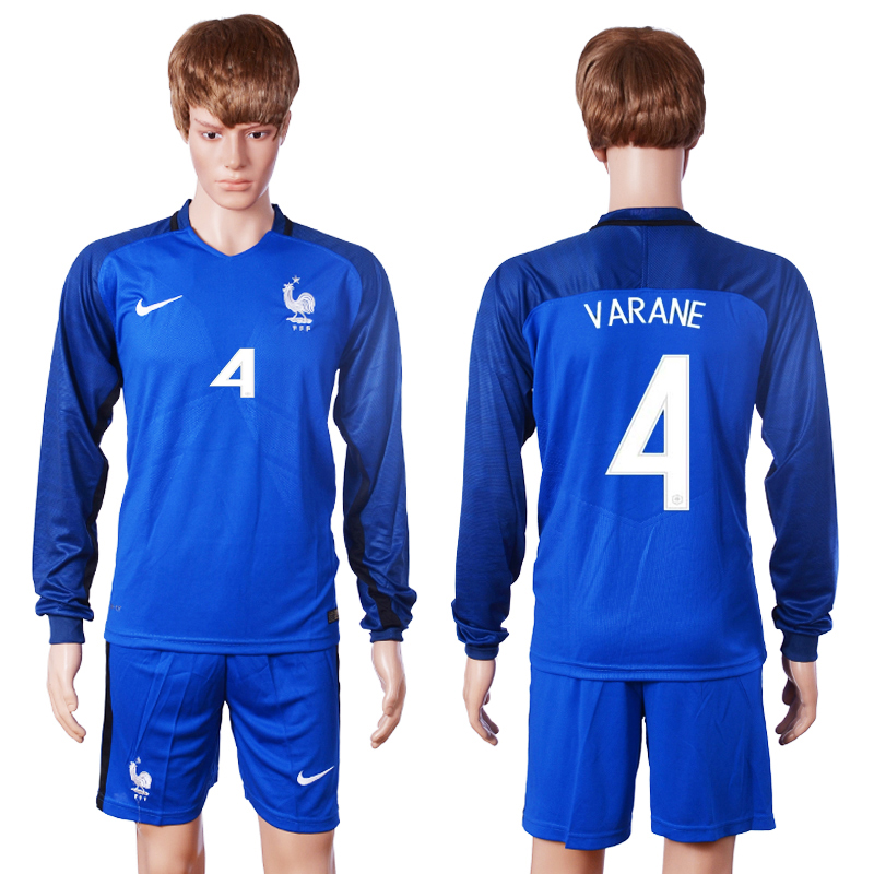 2016 European Cup France home long sleeve 4 Varane Blue Soccer Jersey