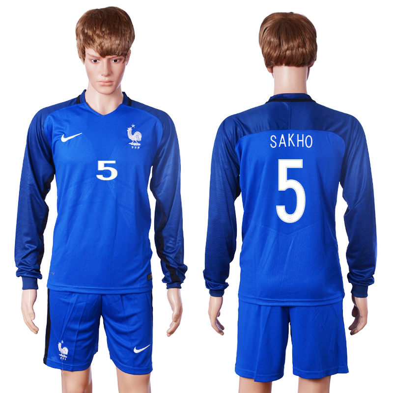 2016 European Cup France home long sleeve 5 Sakho Blue Soccer Jersey