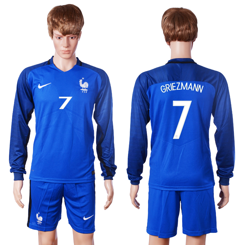 2016 European Cup France home long sleeve 7 Griezmann Blue Soccer Jersey