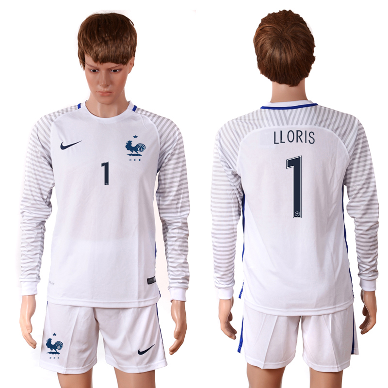 2016 European Cup France white goalkeeper long sleeves 1 Lloris Soccer Jersey
