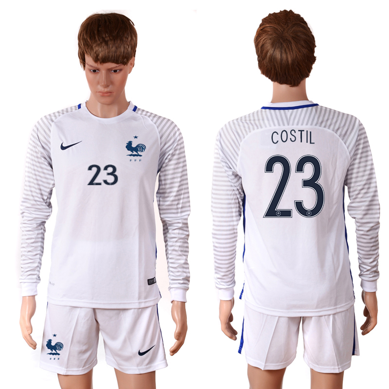 2016 European Cup France white goalkeeper long sleeves 23 Costil Soccer Jersey