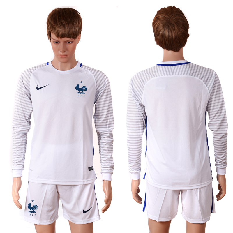 2016 European Cup France white goalkeeper long sleeves Blank Soccer Jersey
