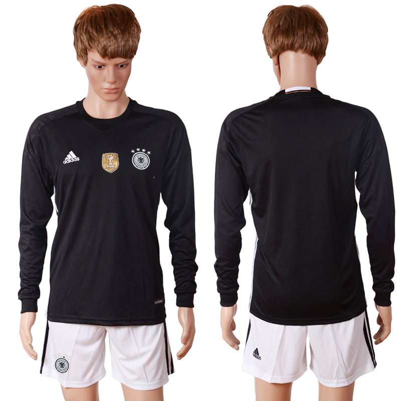 2016 European Cup Germany black goalkeeper long sleeves Blank Soccer Jersey