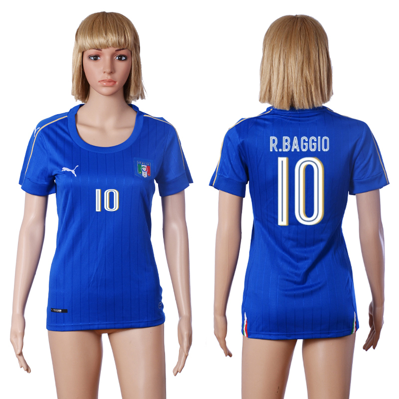 2016 European Cup Italy home 10 R.BAGGIO Blue Women soccer jerseys
