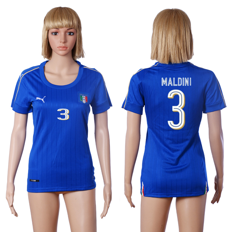 2016 European Cup Italy home 3 MALDINI Blue Women soccer jerseys