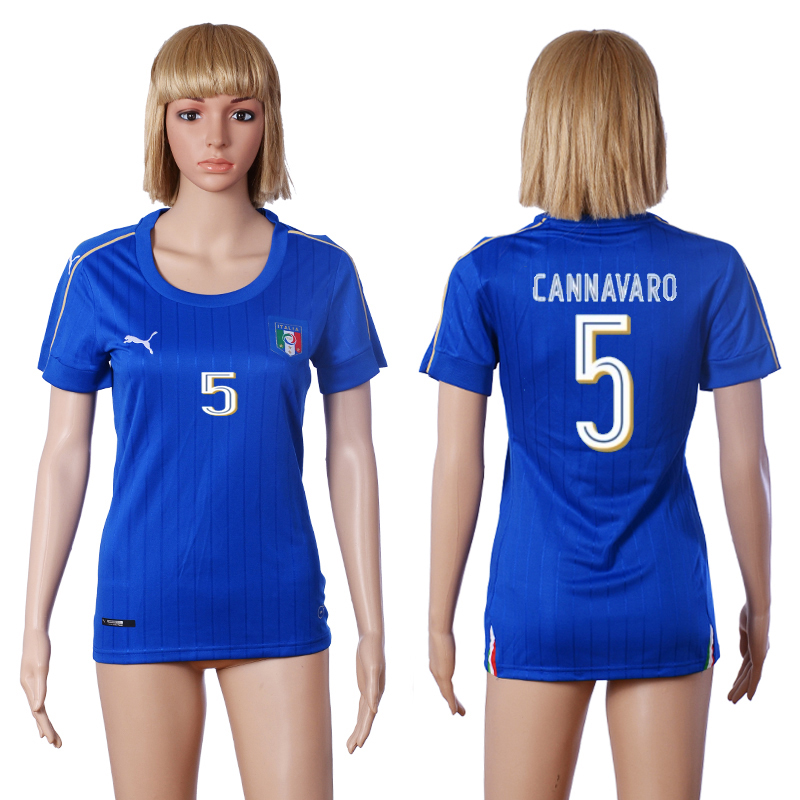 2016 European Cup Italy home 5 CANNAVARO Blue Women soccer jerseys