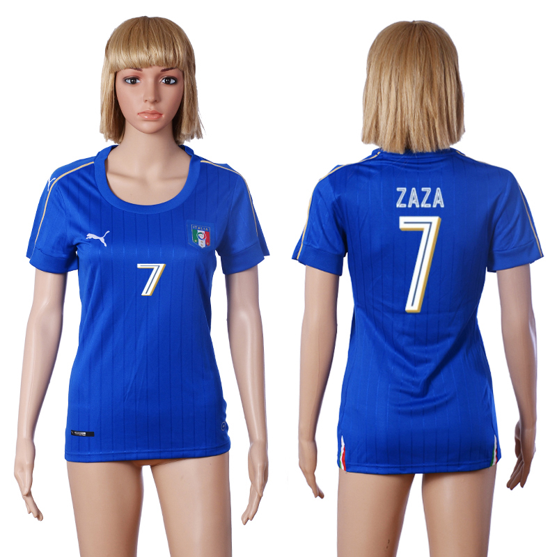 2016 European Cup Italy home 7 ZAZA Blue Women soccer jerseys