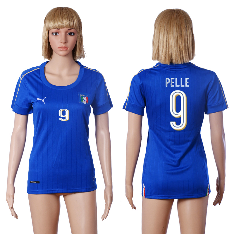 2016 European Cup Italy home 9 PELLE Blue Women soccer jerseys