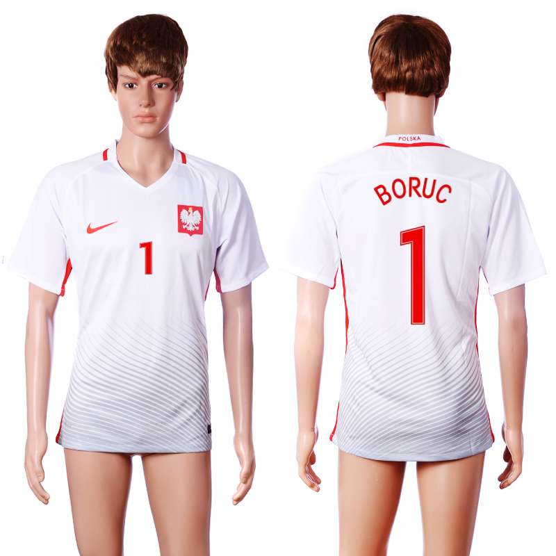 2016 European Cup Poland home 1 BORUC White AAA+ Soccer Jersey