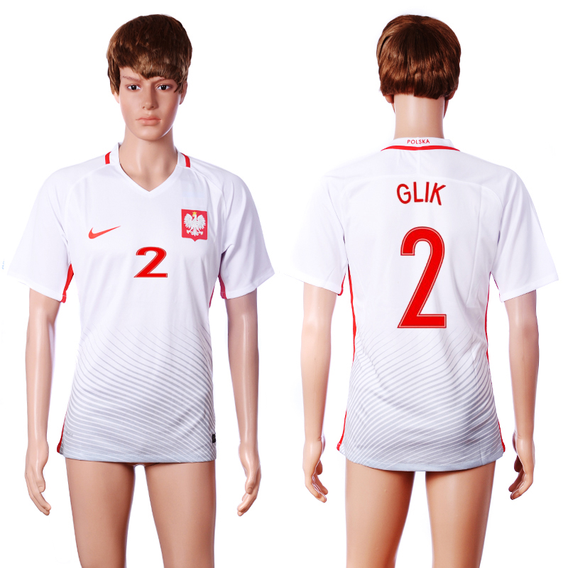 2016 European Cup Poland home 2 GLIK White AAA+ Soccer Jersey