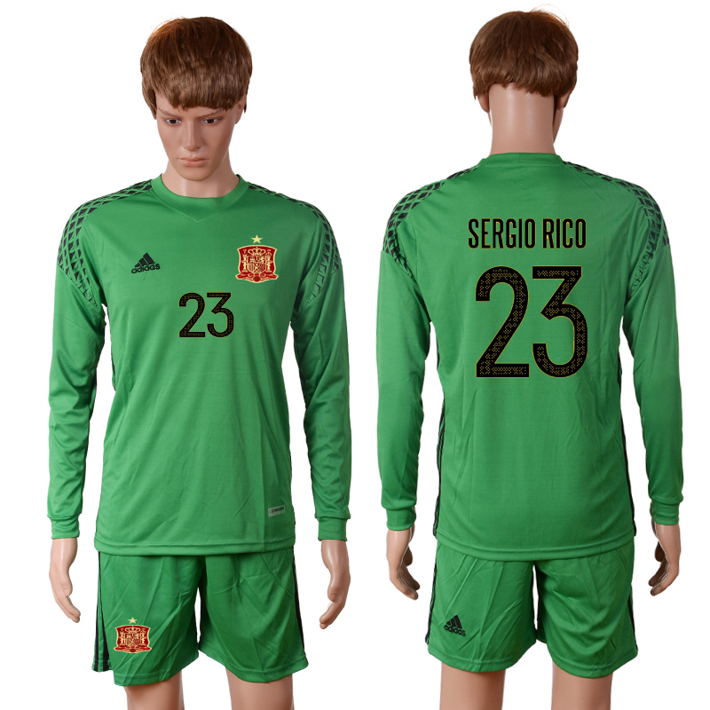 2016 European Cup Spain green goalkeeper long sleeves 23 SERGIO RICO Soccer Jersey