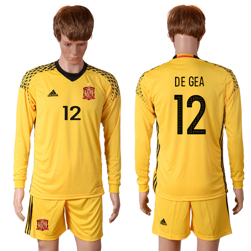 2016 European Cup Spain yellow goalkeeper long sleeves 12 DE GEA Soccer Jersey