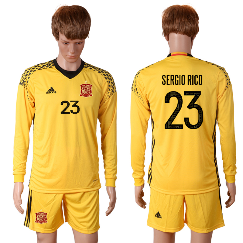 2016 European Cup Spain yellow goalkeeper long sleeves 23 SERGIO RICO Soccer Jersey
