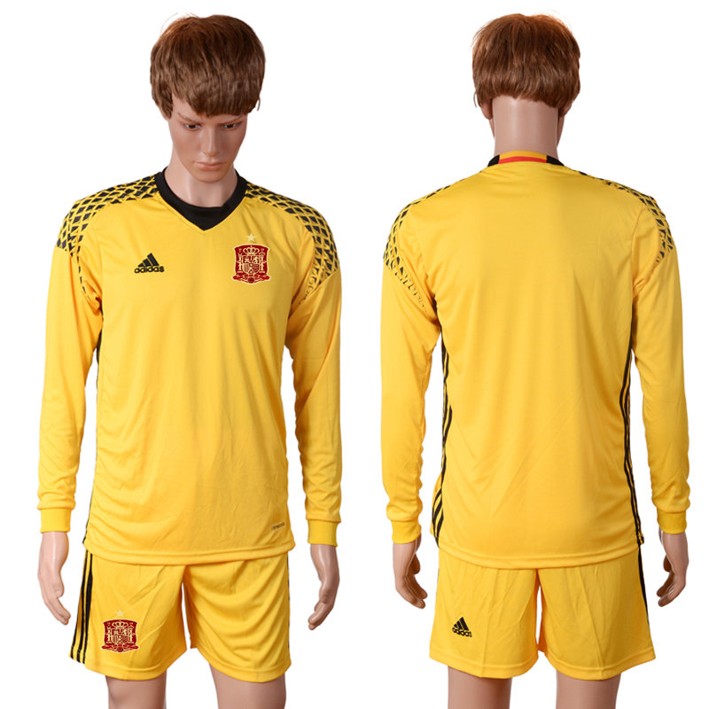 2016 European Cup Spain yellow goalkeeper long sleeves Blank Soccer Jersey