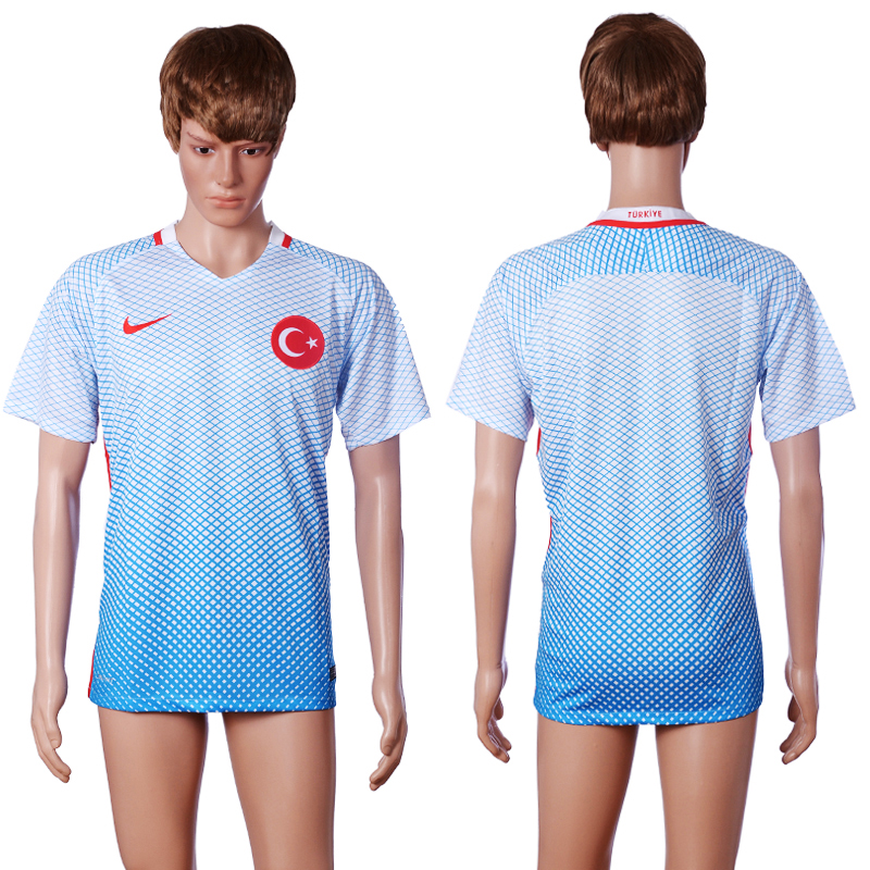 2016 European Cup Turkey Away Blank White AAA+ Soccer Jersey