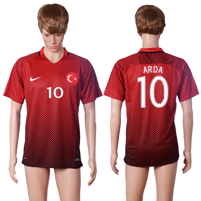 2016 European Cup Turkey home 10 ARDA Red AAA+ Soccer Jersey