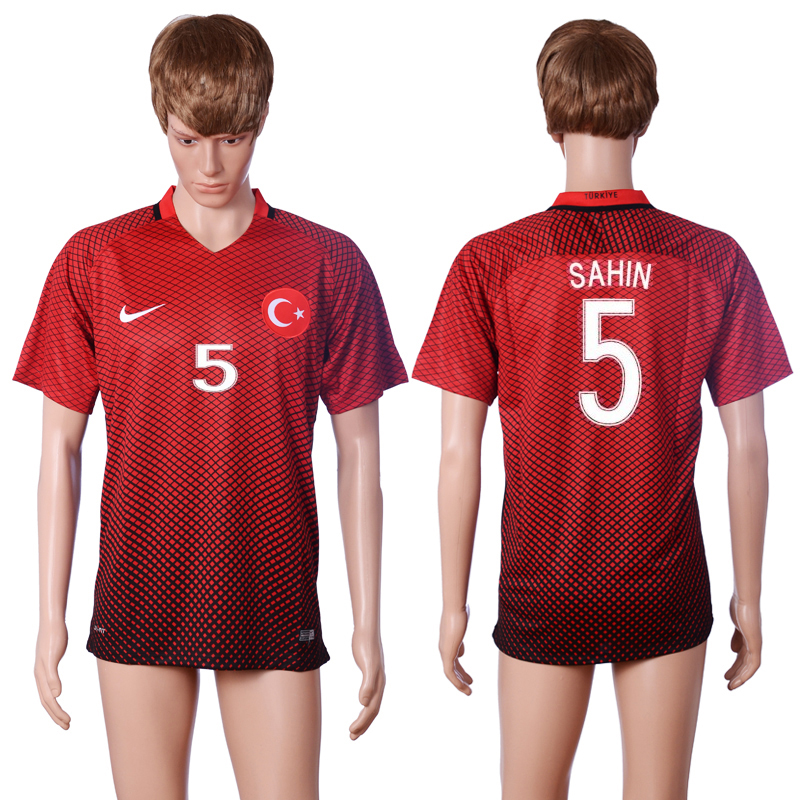 2016 European Cup Turkey home 5 SAHIN Red AAA+ Soccer Jersey