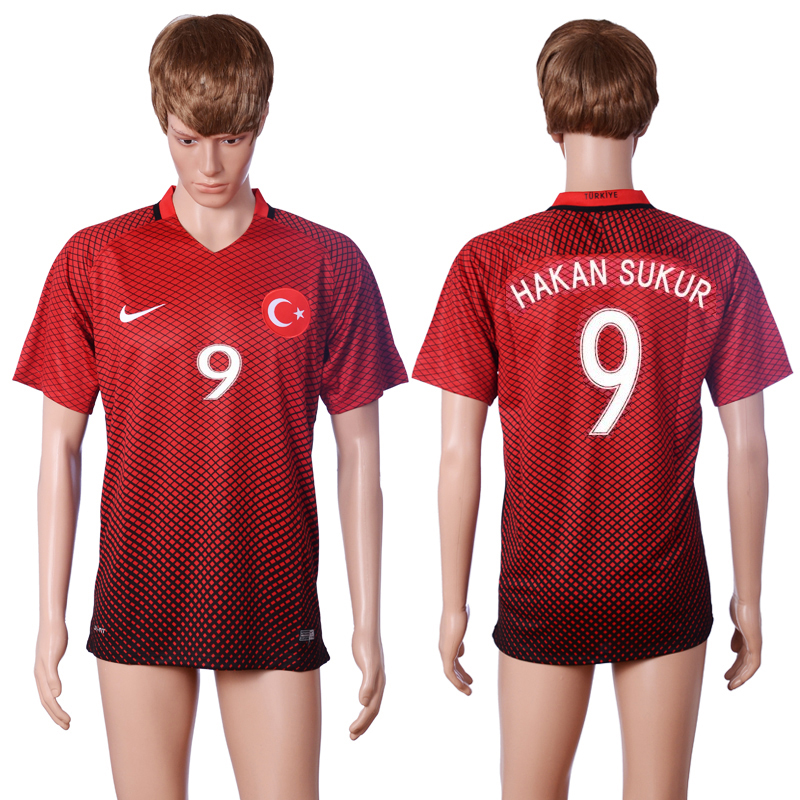 2016 European Cup Turkey home 9 HAKAN SUKUR Red AAA+ Soccer Jersey