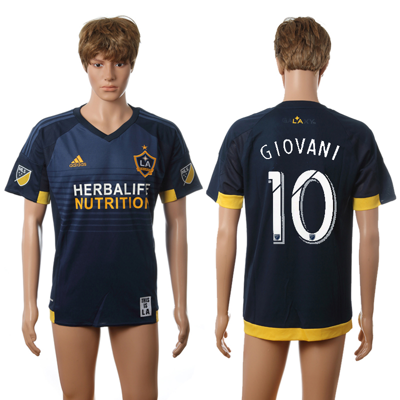 2016-2017 LA Galaxy away 10 Giovani blue AAA+ soccer jerseys