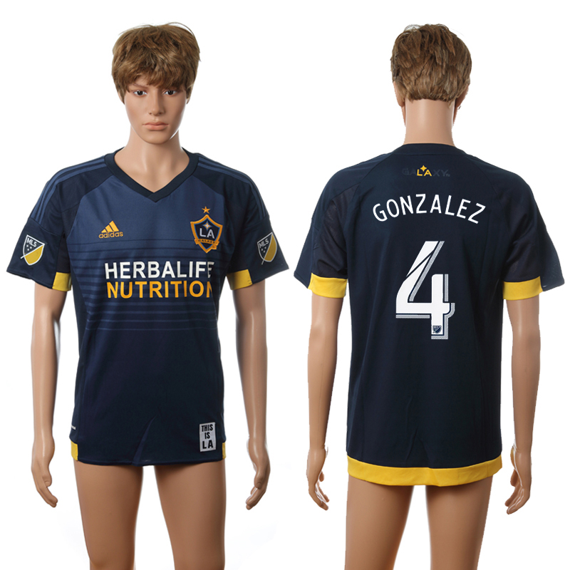 2016-2017 LA Galaxy away 4 Gonzalez blue AAA+ soccer jerseys