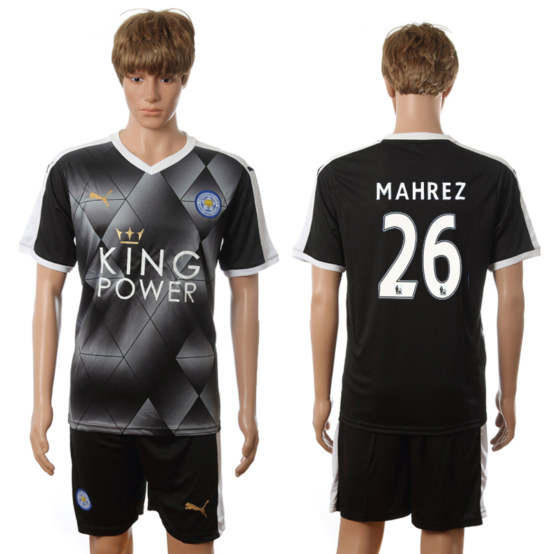 2016-2017 Leicester City away 26 Mahrez black soccer jerseys
