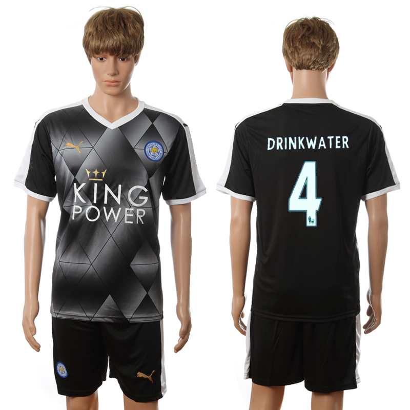 2016-2017 Leicester City away 4 Drinkwater black soccer jerseys