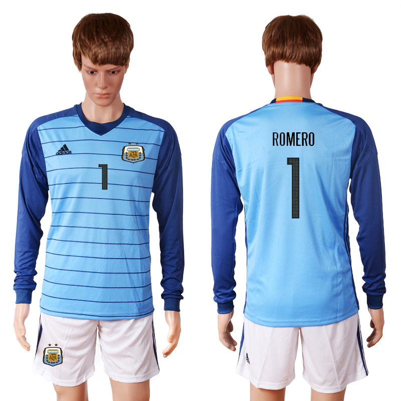 2016-2017 National Argentina blue goalkeeper long sleeves 1 ROMERO Soccer Jersey