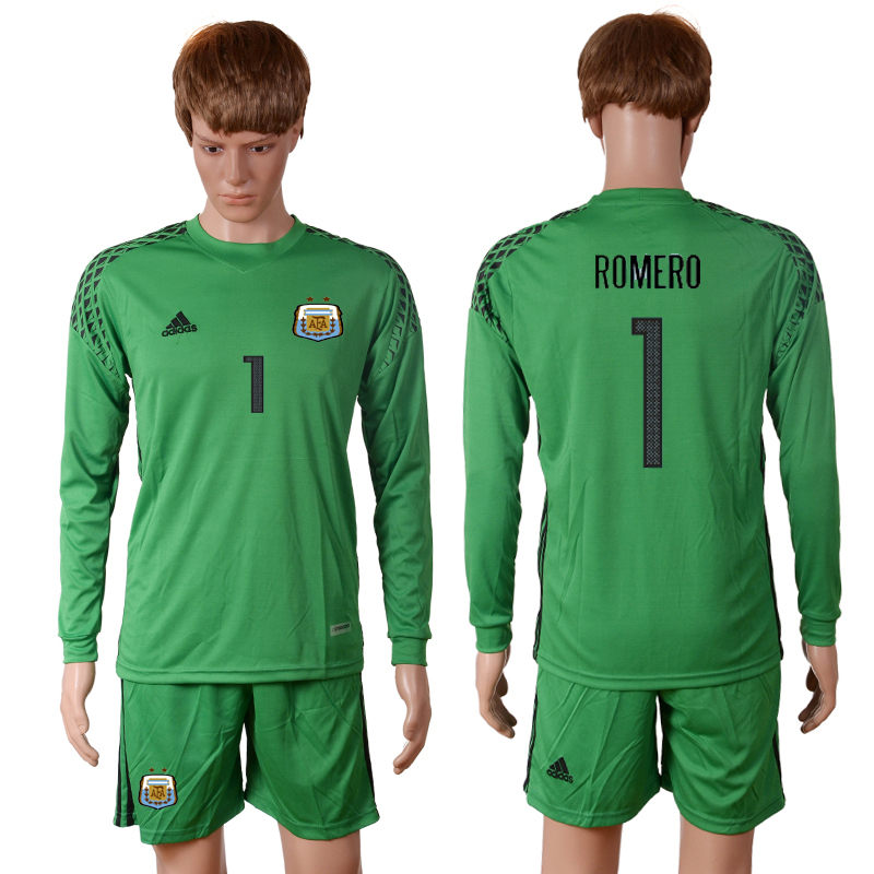 2016-2017 National Argentina green goalkeeper long sleeves 1 ROMERO Soccer Jersey