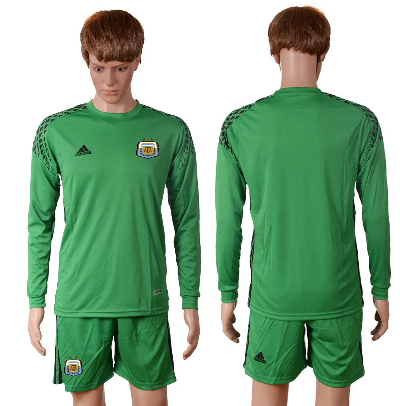 2016-2017 National Argentina green goalkeeper long sleeves Blank Soccer Jersey