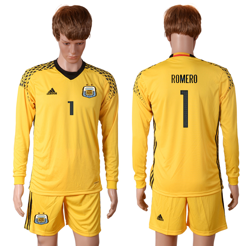 2016-2017 National Argentina yellow goalkeeper long sleeves 1 ROMERO Soccer Jersey