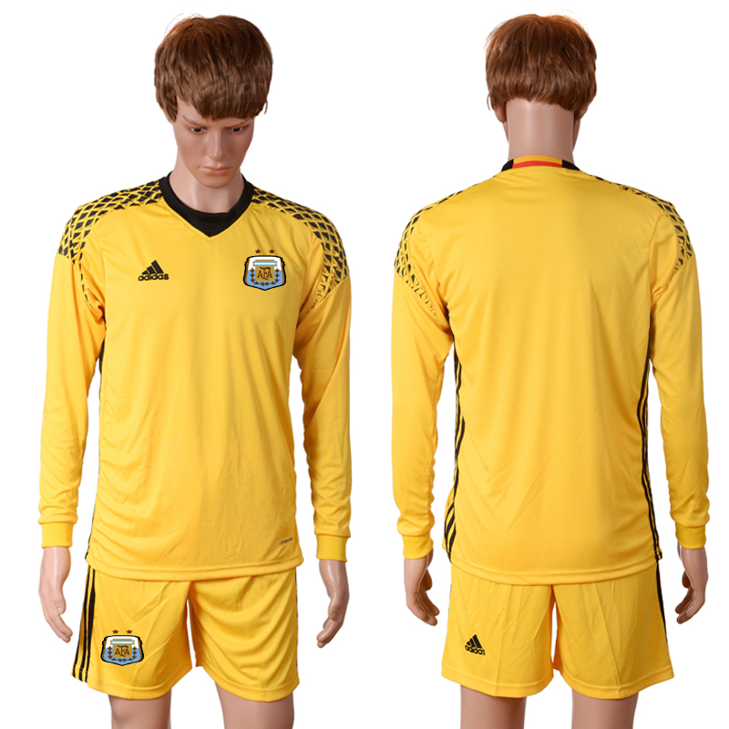 2016-2017 National Argentina yellow goalkeeper long sleeves Blank Soccer Jersey