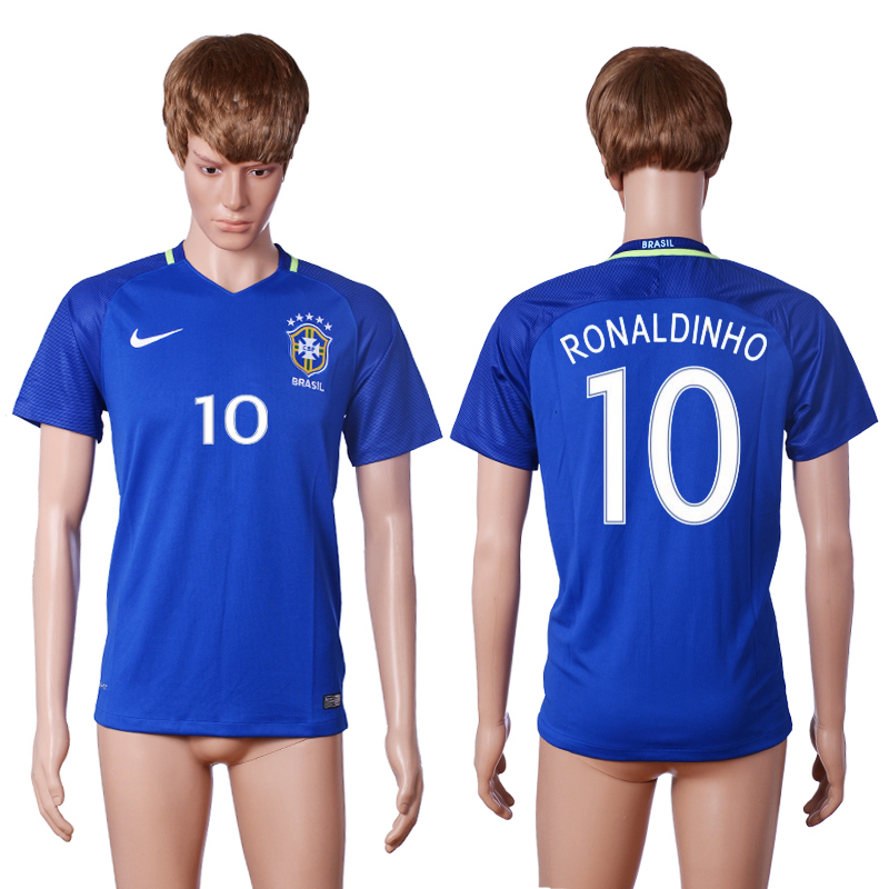 2016-2017 National Brazil away 10 RONALDINHO Blue AAA+ soccer jerseys