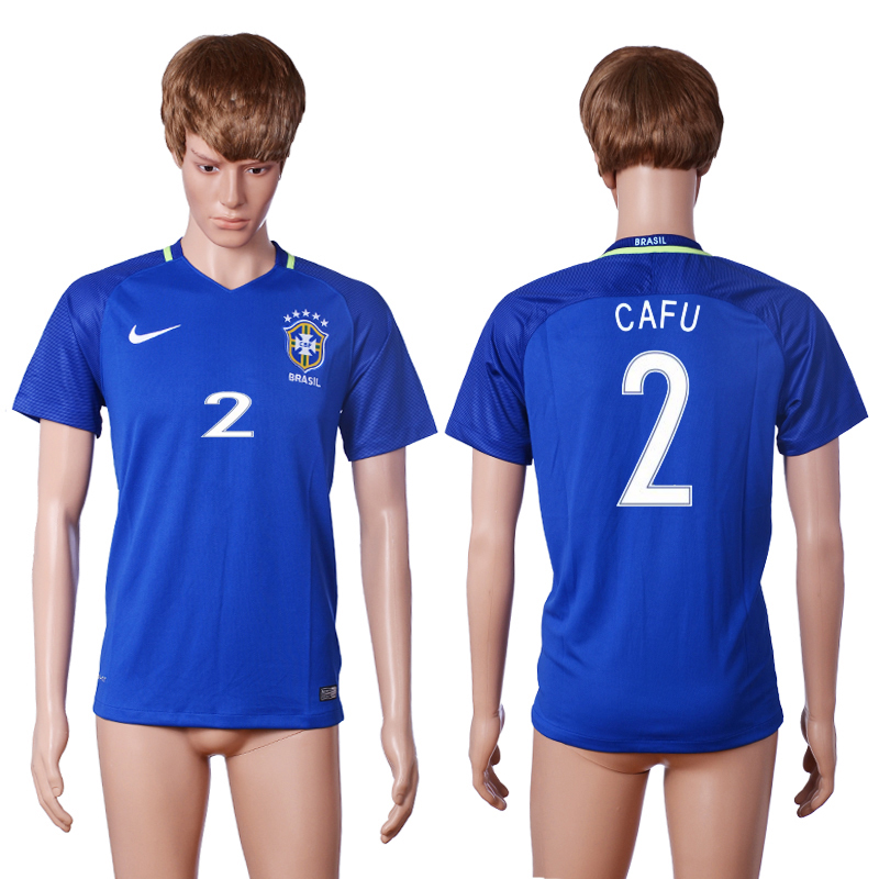 2016-2017 National Brazil away 2 CAFU Blue AAA+ soccer jerseys